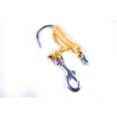 Линь с металлическим крюком одинарным с одной стороны, и стальным карабином с вертлюжком с другой (для течений)