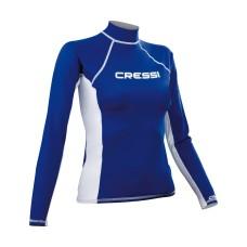 Футболка из лайкры с длинным рукавом cressi rash guard жен. синяя