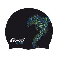Шапочка cressi fantasy силиконовая, цвета с рисунком в ассортименте (черный, серый, белый)