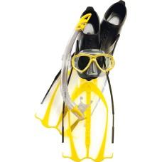 Набор cressi маска perla + трубка gamma + ласты pluma, цвет желтый
